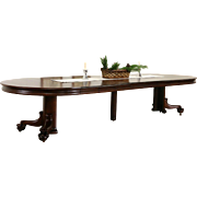 """Oak 1900 Antique 54"""" Round Dining Table, Ball & Claw Pedestal, Extends 12' 6"""""""