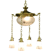Brass 1910 Antique Ceiling Light Fixture, 5 Cut Glass Shades