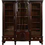 Triple Mahogany 1895 Antique LIbrary Bookcase, Curved Wavy Glass