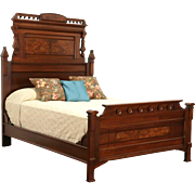 Eastlake Victorian 1880 Antique Queen Size Walnut & Burl Bed