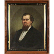 Portrait of a Gentleman, Framed Original Oil on Canvas, Signed M. Pebbles, 1873