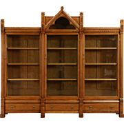 Gothic Maple 1875 Antique Eastlake or Aesthetic Triple Bookcase