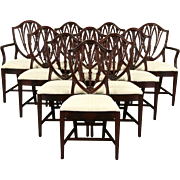 Set of 10 Shield Back 1940 Vintage Mahogany Dining Chairs, New Upholstery