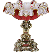 Silver Cherub or Angel & Bohemian Cased Cranberry Glass Bowl, 1880 Antique