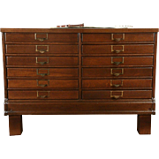 Oak 1915 Antique Map Chest, 12 Drawer Document or Art Drawing File