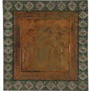 Praying Scene in Tooled Leather, 1900 Antique, Embossed Tin Frame