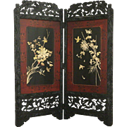Asian 2 Panel 1900 Antique Screen w/ Birds, Hand Painted Lacquer, Carved Stone