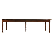 """Victorian 1875 Antique Walnut Round Dining Table, 6 Leaves, Extends 9'  10"""""""
