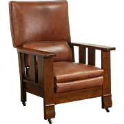 Arts & Crafts Mission Oak 1910 Antique Leather Morris Recliner Chair