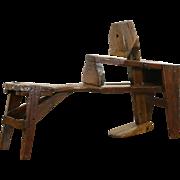 Shaving or Shave Horse or Bench for Carpenter, 1880's Antique Hewn Oak