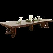 "Victorian Eastlake 1885 Antique 54"" Square Oak Table, 9 Leaves, Extends 14'"