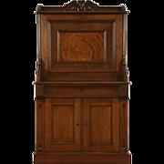 Victorian 1860's Antique Walnut & Burl Secretary Desk