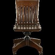 Swivel Adjustable Vintage Oak Desk, Library or Office Chair