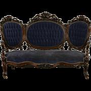 Victorian Hand Carved Rosewood 1860's Antique Sofa, Old Velvet