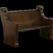 Oak 1900 Antique Carved Pew or Bench