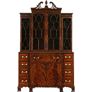 Georgian 1950 Vintage Flame Mahogany Breakfront China or Bookcase with Desk