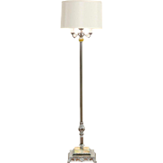Art Deco 1940 Vintage Chrome Floor Lamp, Lighted Slag Glass Base