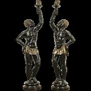 Pair of Life Size Bronze Blackamoor Sculptures, Vintage Statues