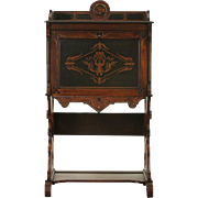 Victorian Eastlake 1875 Antique Music Cabinet, Inlaid Marquetry