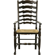 French Oak Rush Seat 1930's Vintage Country Chair with Arms