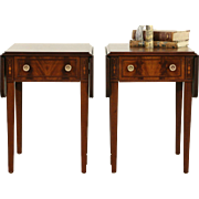 Pair Traditional Mahogany 1950 Vintage Dropleaf Nightstand, Lamp Tables, Signed