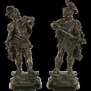 Pair of Renaissance Sculptures 1880 Antique Victorian Cavalier Statues