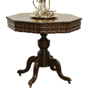 Victorian 1850 Antique Carved Walnut Octagonal Sewing, Tea or Center Table