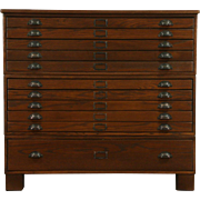 Oak 1910 Antique Stacking Map Chest, Artist or Document File, 11 Drawers