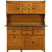 Baker 1900 Antique Maple Kitchen Pantry Cupboard, Zinc Top