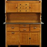 Baker 1900 Antique Maple Kitchen Pantry Cupboard, Zinc Top
