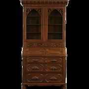 Victorian Steamboat Gothic 1850's Antique Secretary Desk & Bookcase