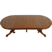 Round Oak 1900 Antique Dining Table, Carved Lion Paw Feet, 4 Leaves