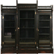 Victorian Eastlake 1875 Antique Ebonized Cherry Triple LIbrary  Bookcase