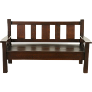 Arts & Crafts Mission Oak 1905 Antique Bench or Settee