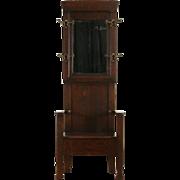 Arts & Crafts Mission Oak 1905 Antique Hall Stand, Bench & Mirror, Seat Storage