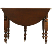 1880 Antique Victorian Walnut Drop Leaf Dining Table, 4 Leaves, Extends 8' 4""