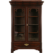 Victorian Gothic 1830's Antique Mahogany Bookcase, Secret Compartment