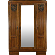 Italian Art Deco 1925 Antique Armoire, Wardrobe or Linen Closet