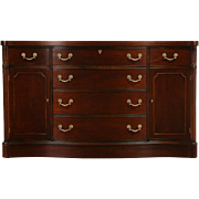 Traditional 1950 Vintage Mahogany Serpentine Sideboard, Server or Buffet