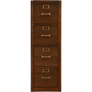 Oak 1920's Antique 4 Drawer Filing Cabinet, Standard Letter File, Brass Pulls