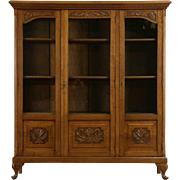 Carved Oak 1915 Antique Scandinavian 3 Door Bookcase, Adjustable Shelves