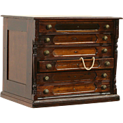 Cherry 1890's Antique 6 Drawer Spool or Collector Cabinet, Jewelry Chest