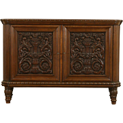 French Art Deco 1925 Antique Grapevine Carved Oak Sideboard, Server, TV Console