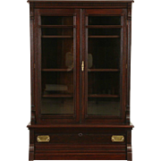 Victorian Eastlake 1885 Antique Walnut Library Bookcase, Glass Doors