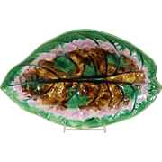 Majolica Late 1800's Hand Painted Large Leaf Platter or Tray