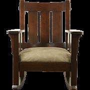 Arts & Crafts Mission Oak Rocking Chair Antique 1905 Craftsman Rocker