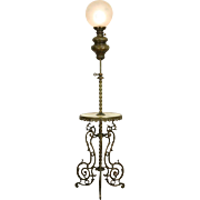 Victorian Onyx & Brass 1880's Antique Adjustable Piano Lamp, Electrified