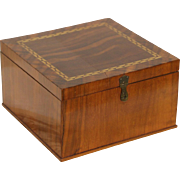 Jewelry Chest or 1900 Antique Keepsake Box, Banded Walnut