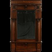 Classical Oak 1900 Hall or Pier Mirror, Columns & Beveled Mirror