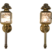 Pair of Brass 1890's Antique Coach Lamps, Electrified as Sconces